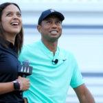 GolfTV's Henni Zuel and Tiger Woods at last year's Hero World Challenge.