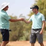 Joel Dahmen, left, and Zach Smith fist-bump after Smith's victory at the Scottsdale Open.