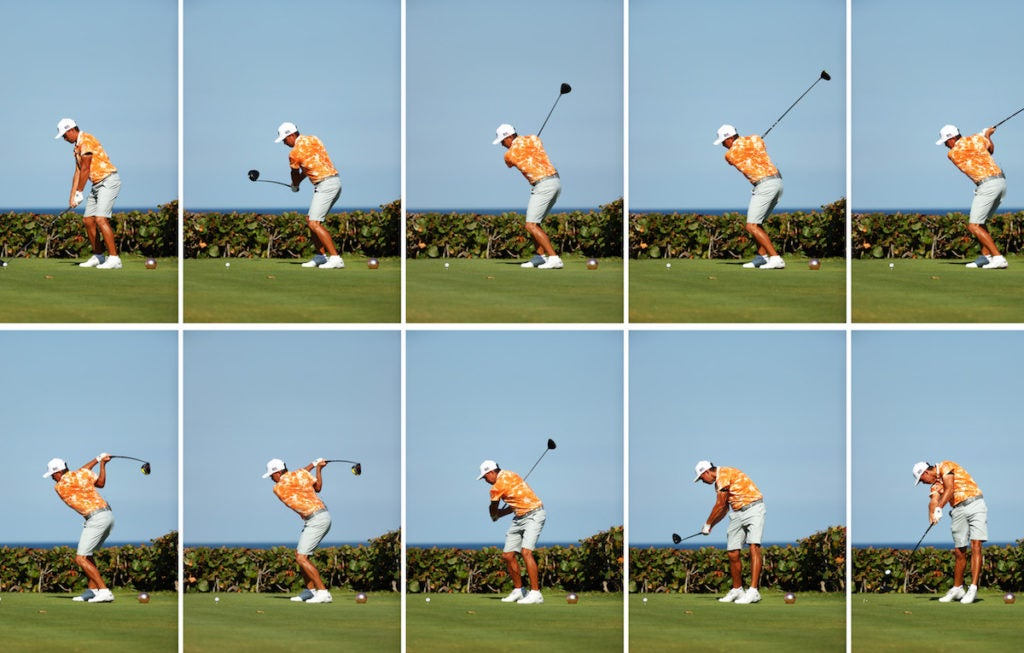 JUNO BEACH, FLORIDA - MAY 17: (EDITORS NOTE: THIS IS A COMPOSITE IMAGE, ALL INDIVIDUAL IMAGES AVAILABLE SEPARATELY) Rickie Fowler of the CDC Foundation team plays his shot from the 15th tee during the TaylorMade Driving Relief Supported By UnitedHealth Group on May 17, 2020 at Seminole Golf Club in Juno Beach, Florida. (Photo by Mike Ehrmann/Getty Images)