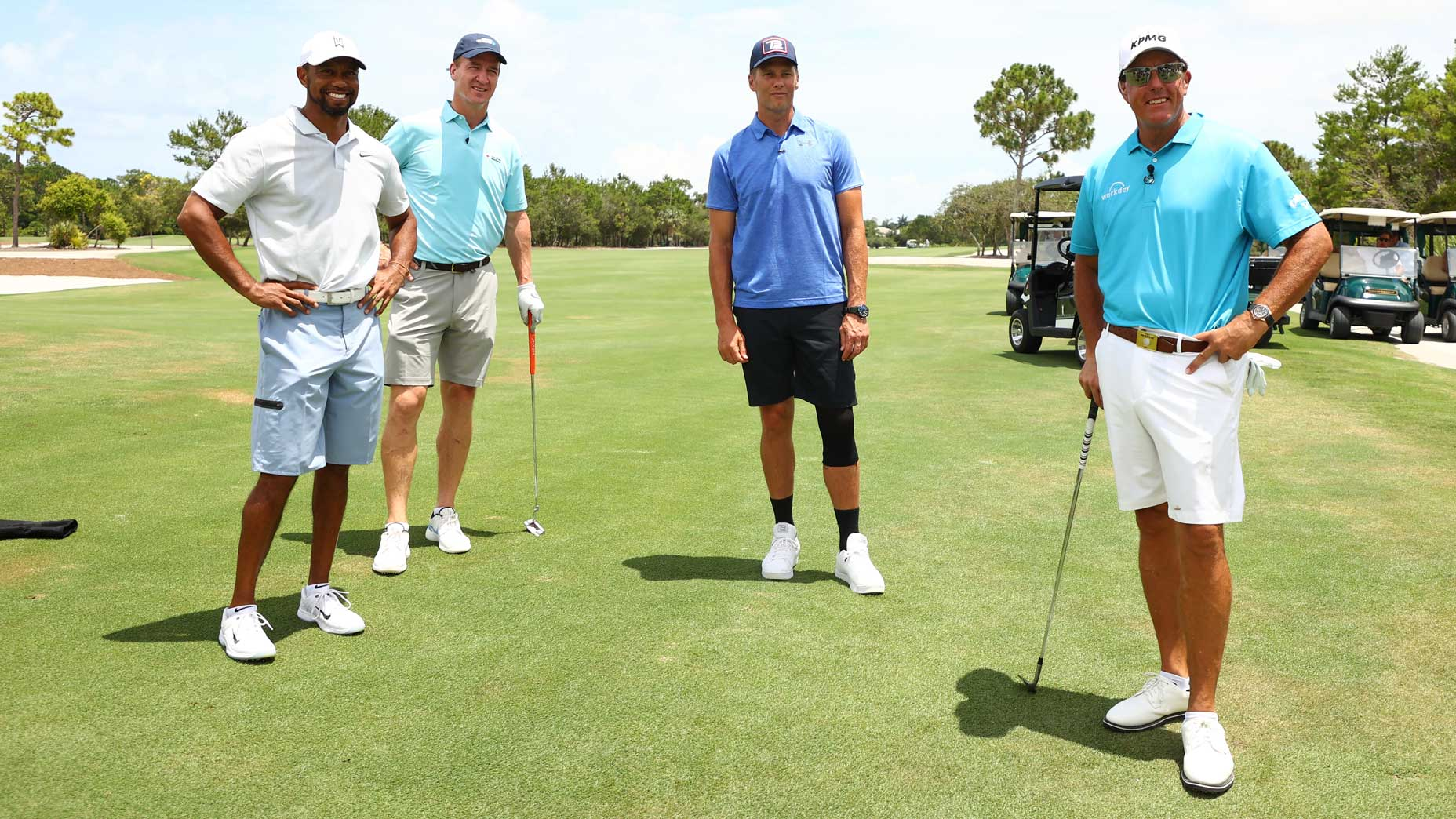 Tiger Woods, Peyton Manning, Tom Brady and Phil Mickelson at Medalist Golf Club.