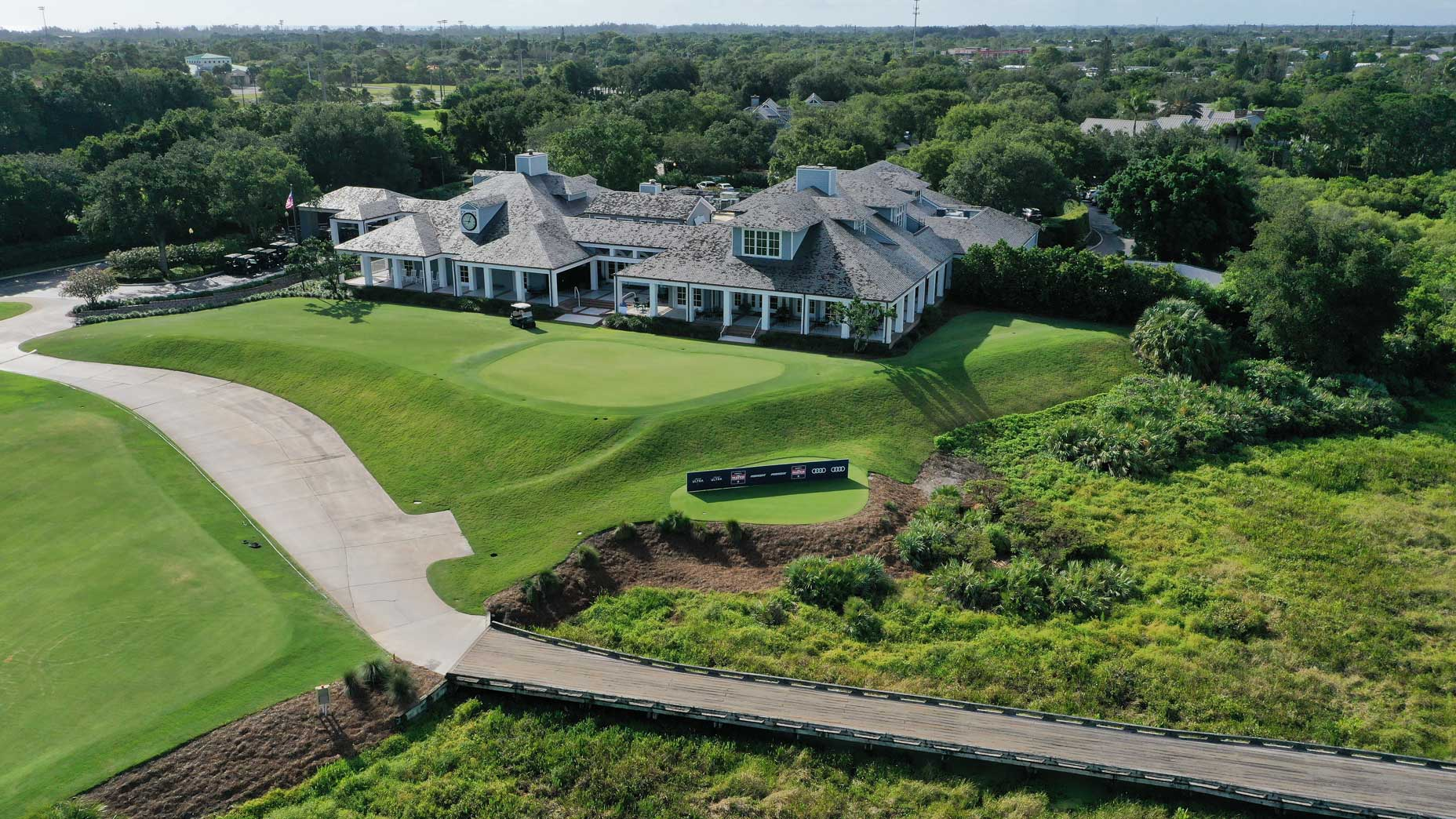 An aerial drone view of the clubhouse at Medalist Golf Club.
