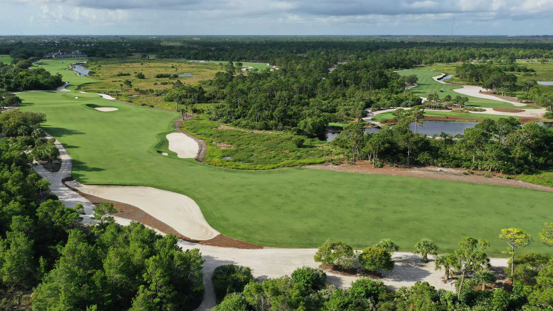 An aerial drone view of the 17th hole at Medalist Golf Club.