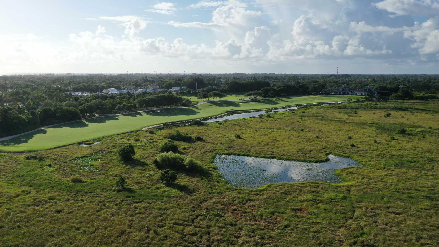 An aerial drone view of the 18th hole at Medalist Golf Club.