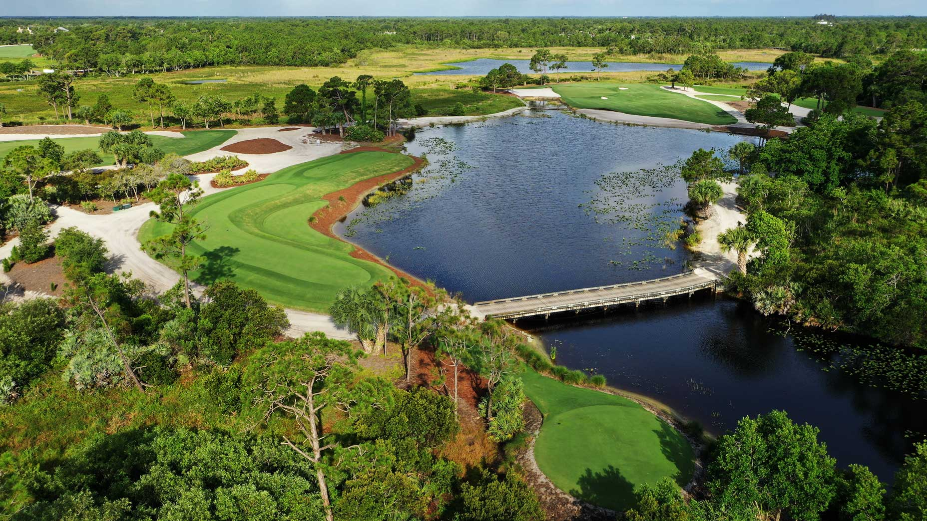 An aerial drone view of the 16th hole at Medalist Golf Club.