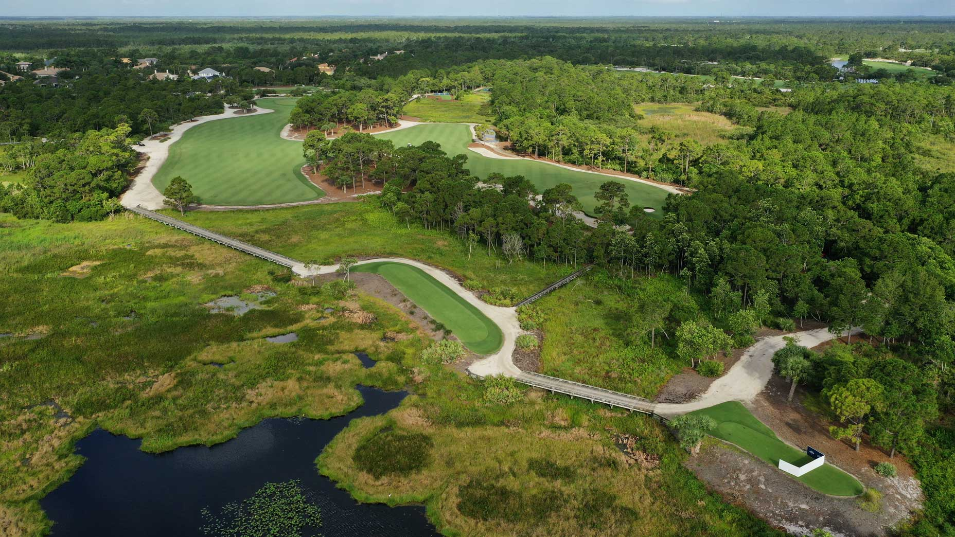 An aerial drone view of the 6th hole at Medalist Golf Club.