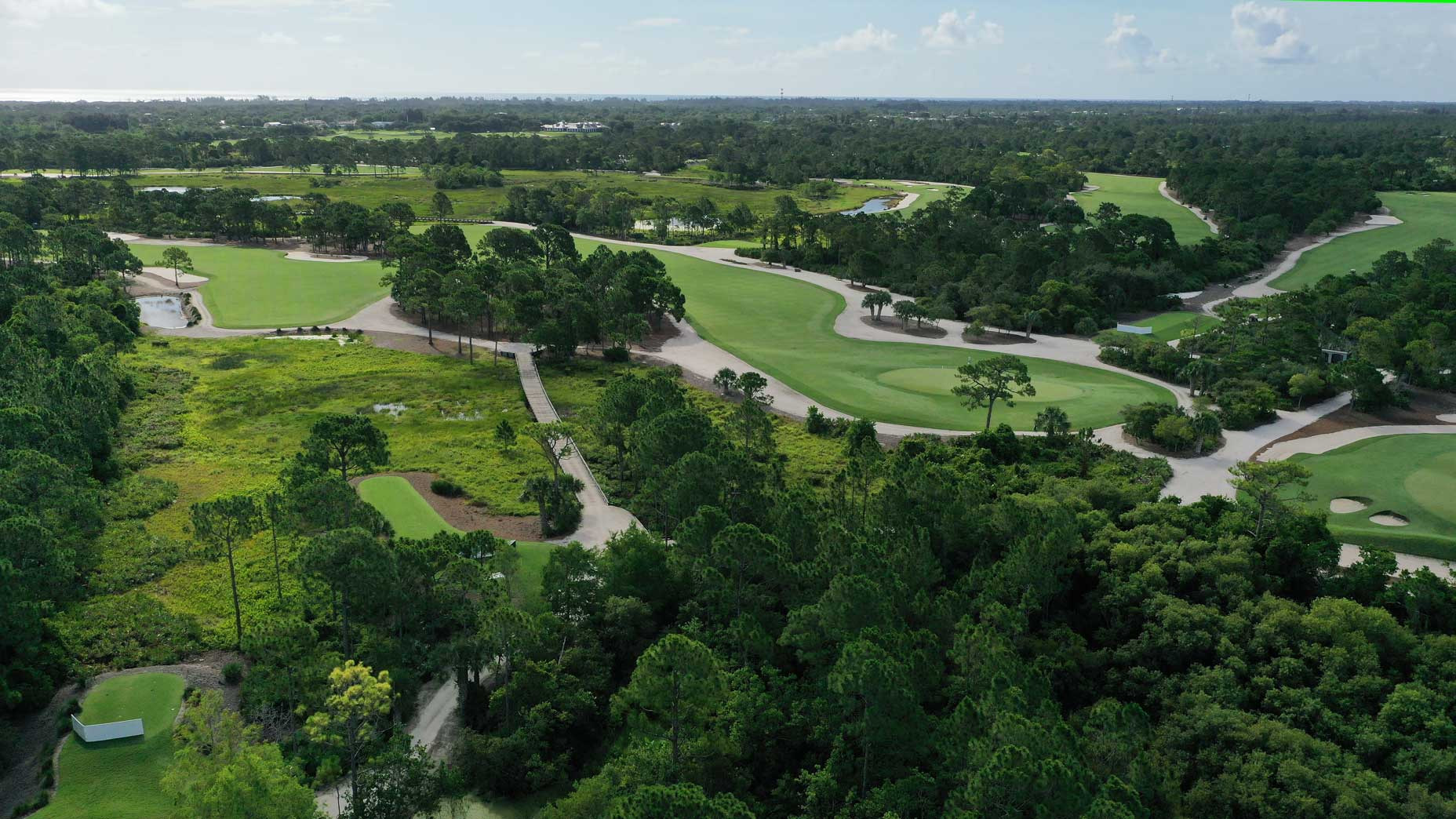 An aerial drone view of the 5th hole at Medalist Golf Club.