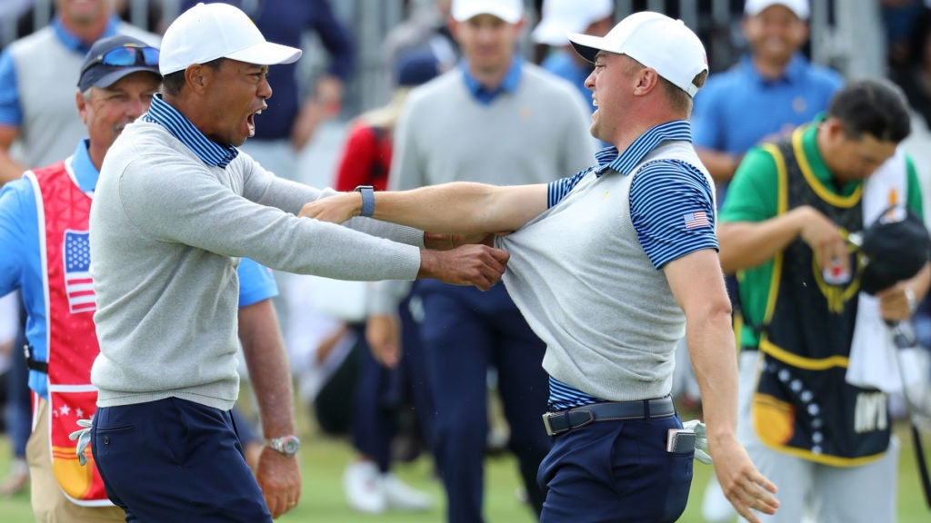 Tiger Woods' incredible alternate-shot advice for Justin...