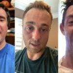 Bubba Watson, Justin Thomas and Rory McIlroy drenched in sweat after a Peloton ride.