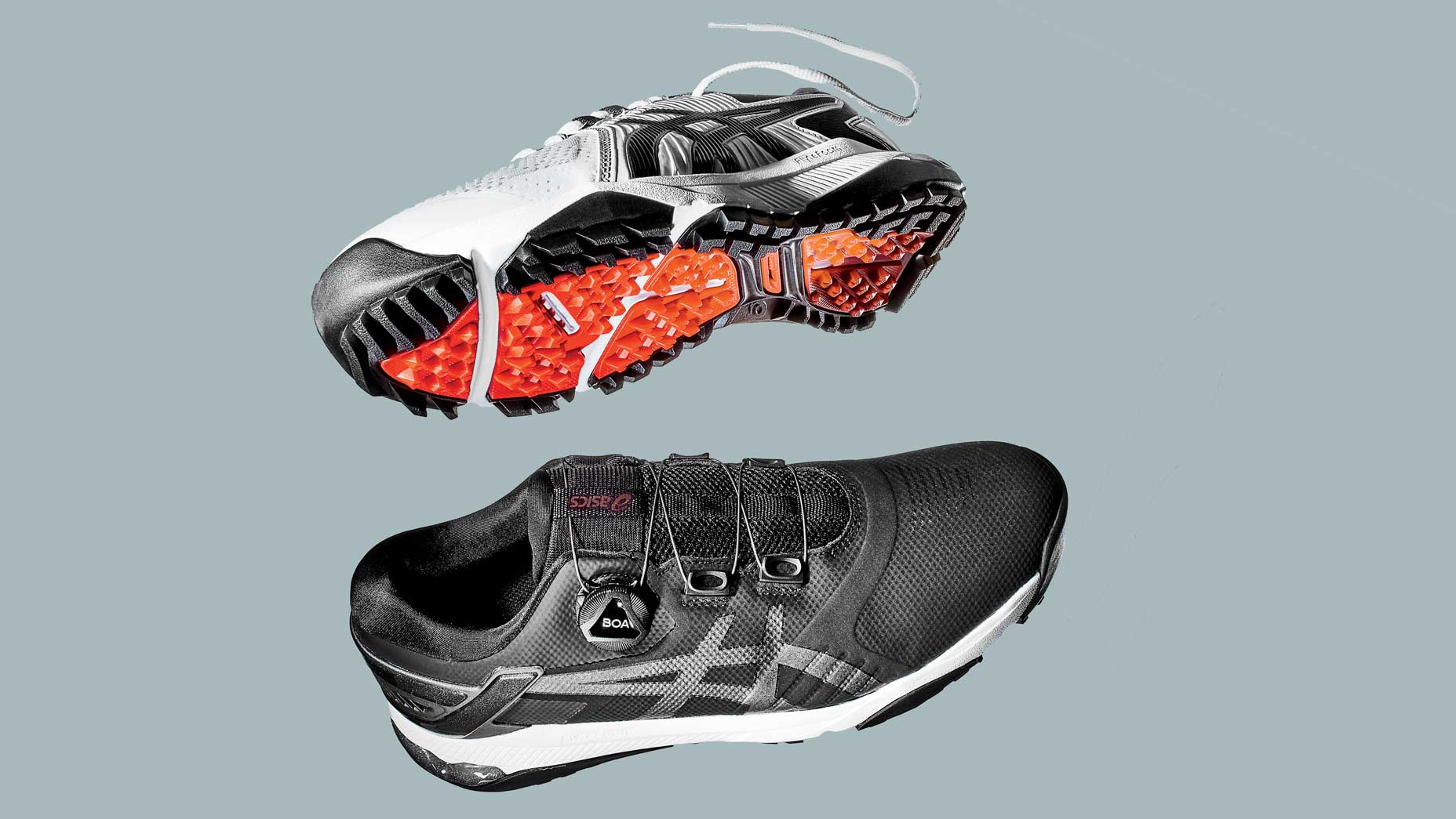 Two Asics golf shoes