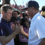 Zach Johnson and Davis Love III at the 2016 Ryder Cup.