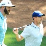 Pro golfers Dustin Johnson and Rory McIlroy