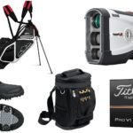 A collection of golf items to buy.