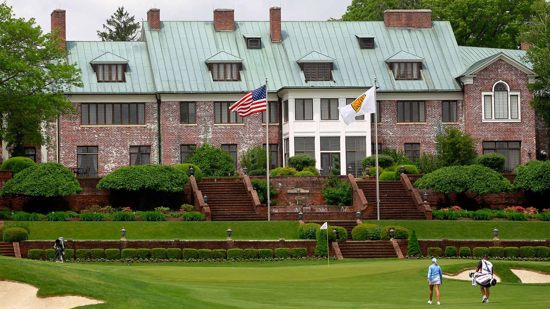 The 9th green and clubhouse at Hamilton Farm Golf Club in Gladstone, N.J.