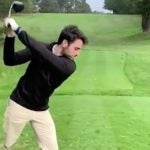 one-legged golfer swings