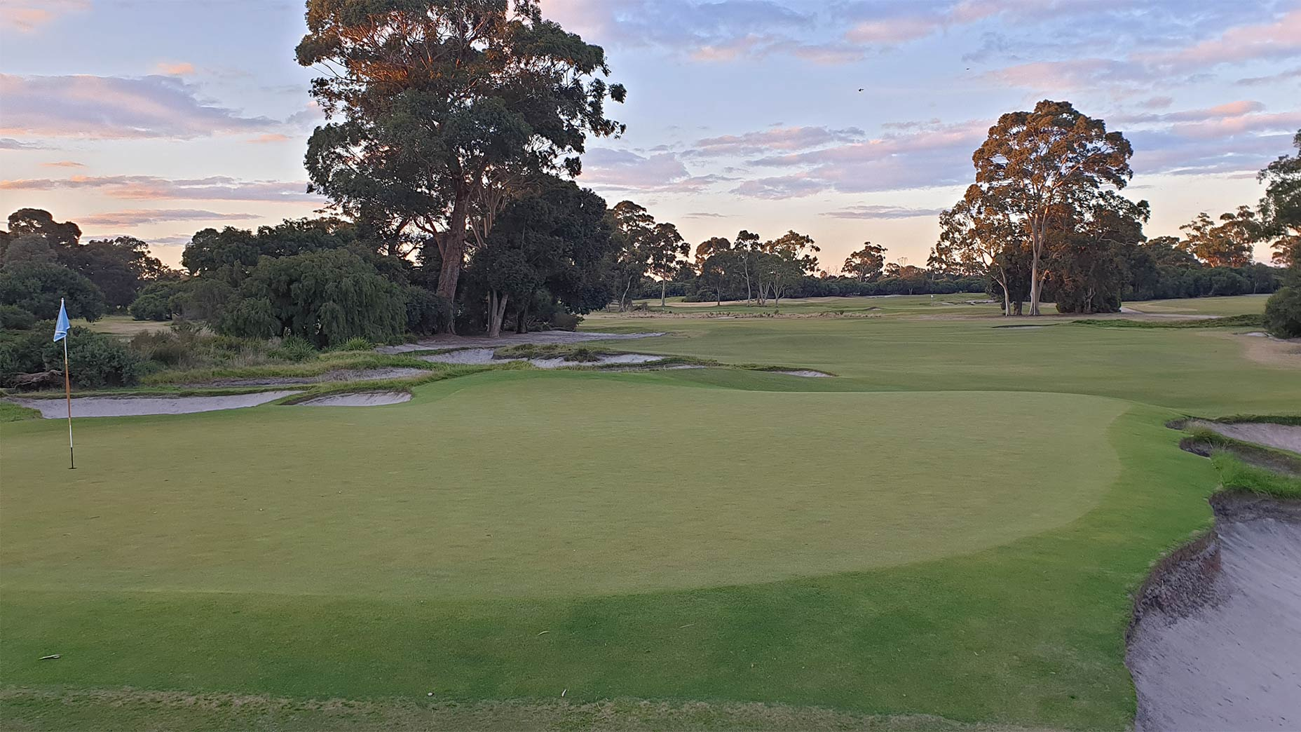 A view of the green back toward the tee of the par-4 3rd hole at Kingston Heath.