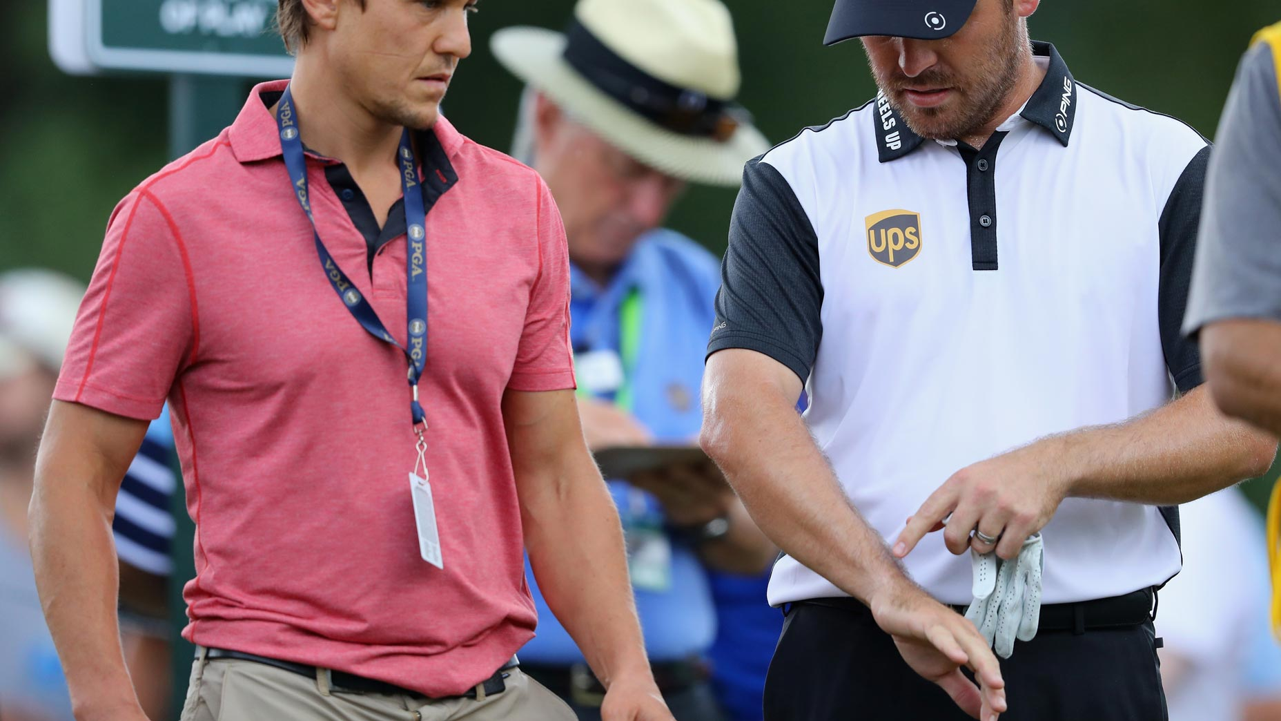 louis oosthuizen examines a hand injury