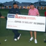 Phil Mickelson, Tom Brady, Peyton Manning, Tiger Woods hold large check