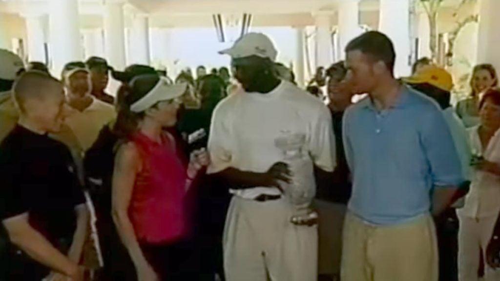 Michael Jordan and Tom Brady interviewed after golf tournament