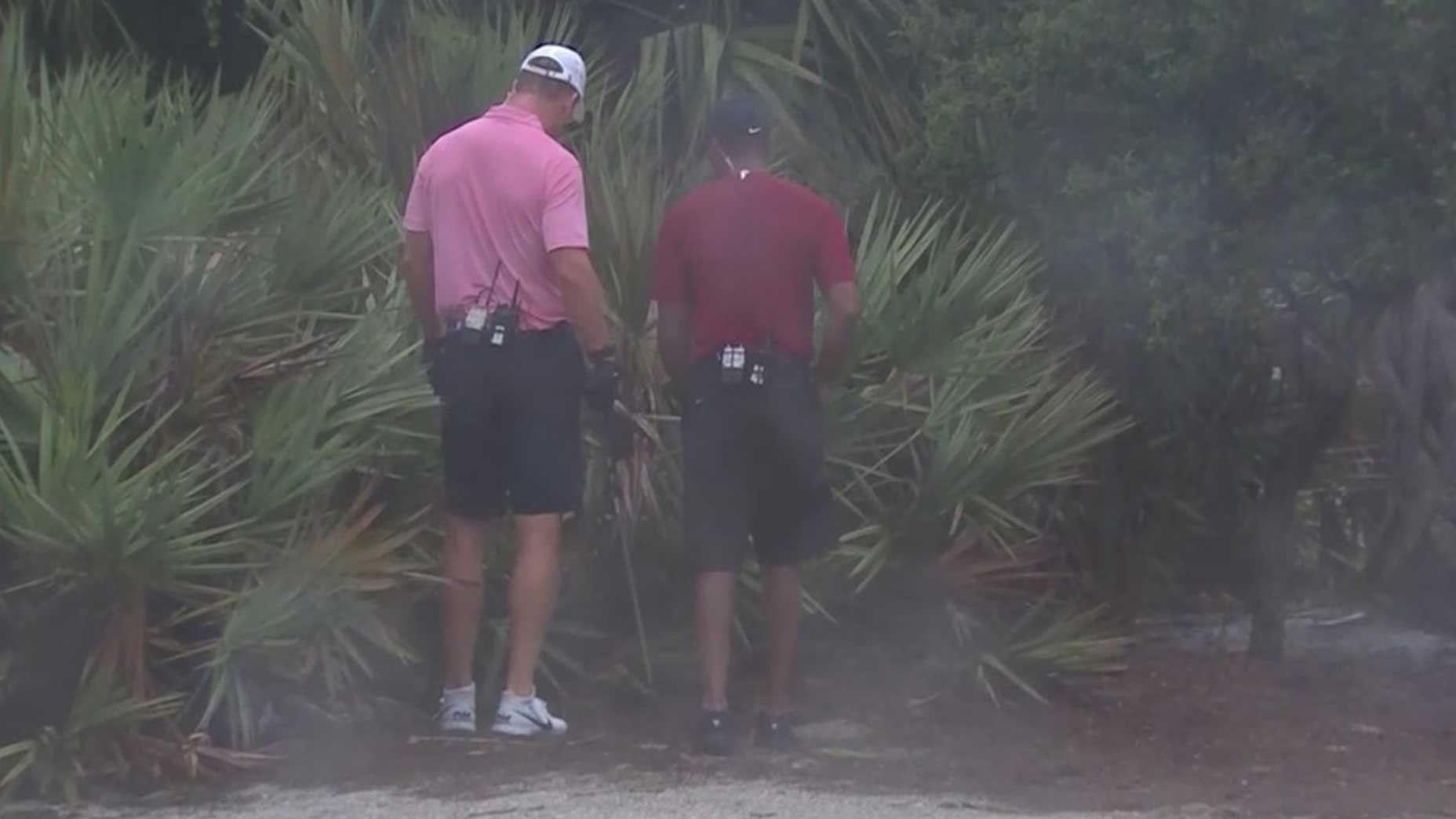 Peyton Manning Tiger Woods look for lost ball