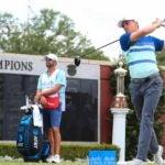 Pro golfer Jordan Spieth hits drive