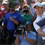 Rory McIlroy hits a shot during the first round of the 2020 Players.
