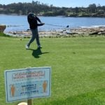 GOLF senior writer Alan Shipnuck tees off during a round at Pebble Beach on Monday, the first day it re-opened.