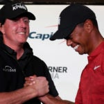 Phil Mickelson and Tiger Woods at The Match in 2018.