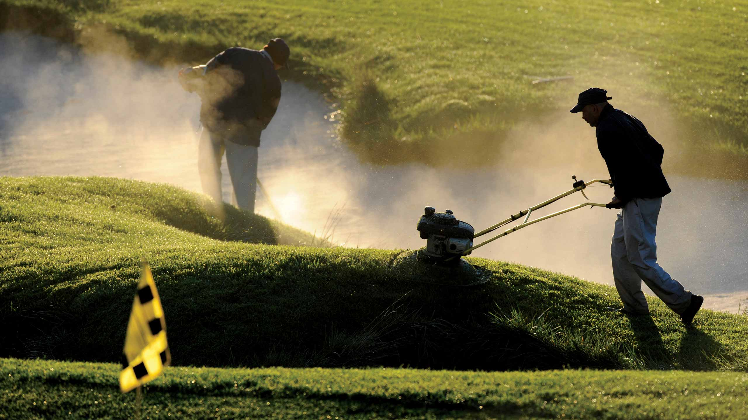 Golf course maintenance workers