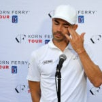 Camilo Villegas wipes away tears while speaking to the press on Wednesday.
