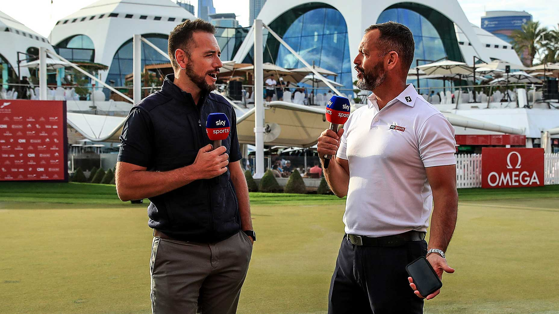 Sky Sports' Nick Dougherty and Andrew Coltart at the Dubai Desert Classic earlier this year.
