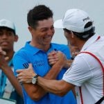 Viktor Hovland and caddie Shay Knight at the Puerto Rico Open in February.
