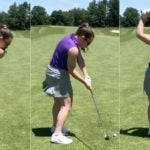A woman makes a golf swing.