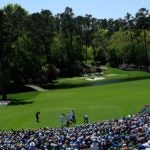 tiger woods tees off augusta national no. 12