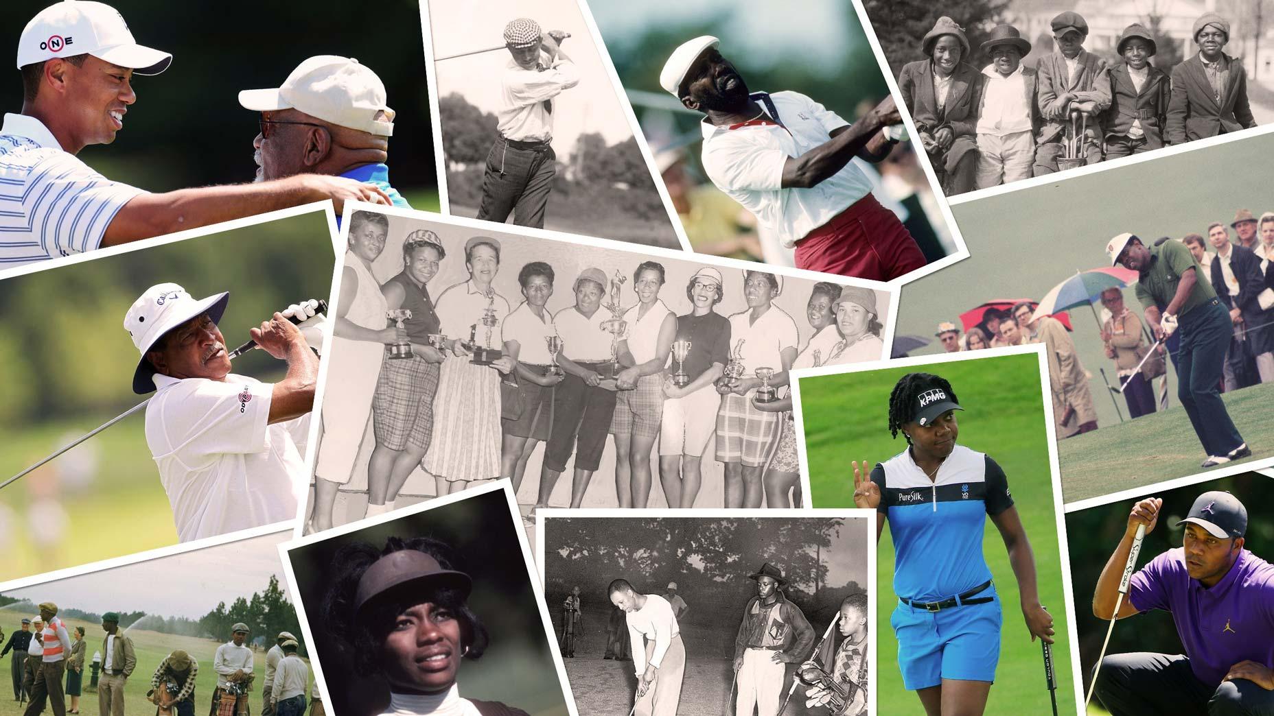 montage of black golfers