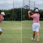 Pro golfer Bryson DeChambeau hits drive on range