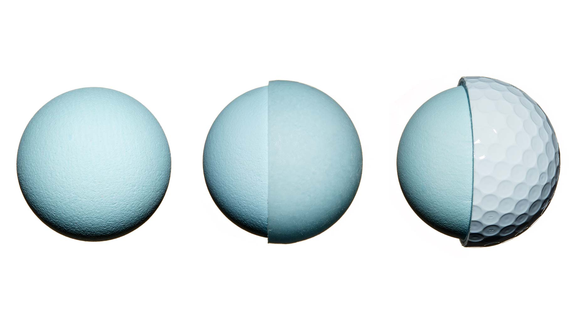 Inside layers of three golf balls