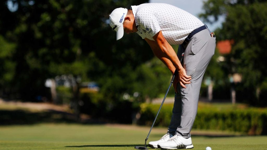 collin morikawa frustrated after a missed putt
