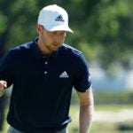 Daniel Berger pumps his fist after making a putt on Sunday.