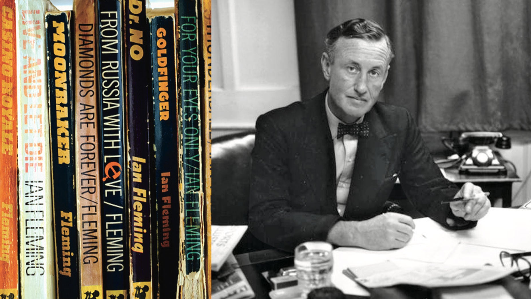 Ian Fleming at his home office.