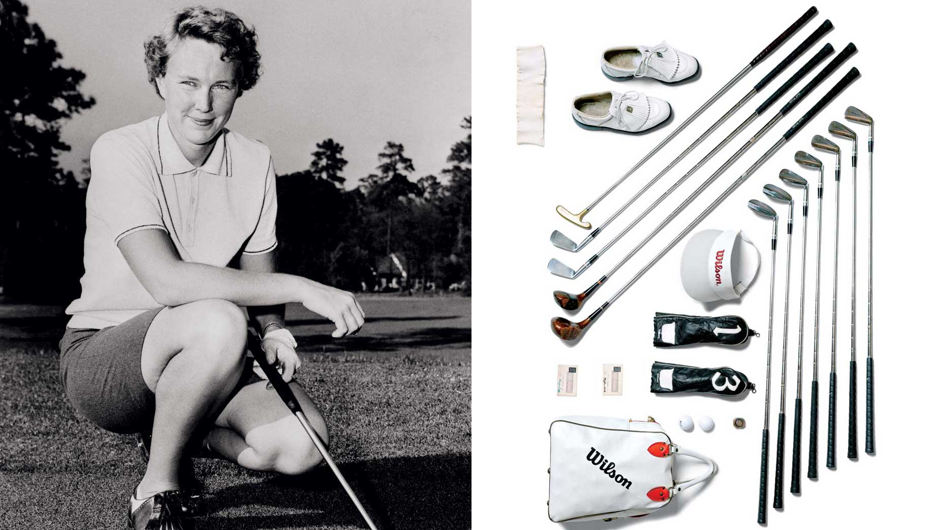 Golfer Mickey Wright and her golf clubs.