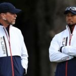 Golfers Steve Stricker and Tiger Woods