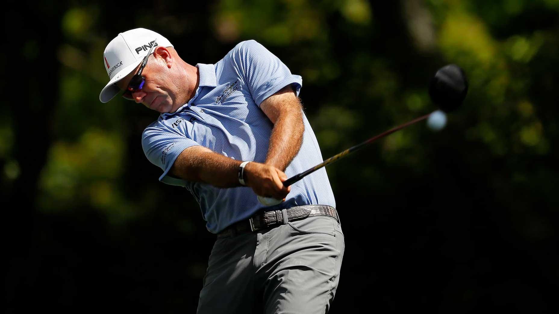 Pro golfer Stewart Cink hits drive
