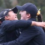 Swing Liu and Lauren Walsh hug at the 2019 East Lake Cup.