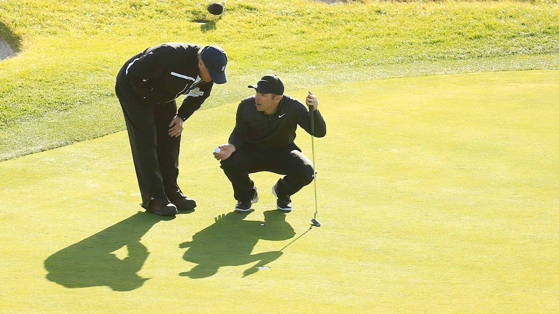 What's the ruling if your ball ends up on the wrong putting green?