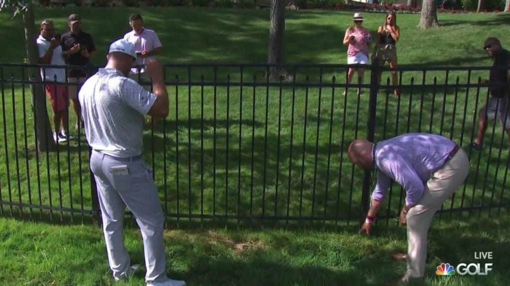 Bryson DeChambeau ran into a spot of bother at No. 15 at the Memorial.