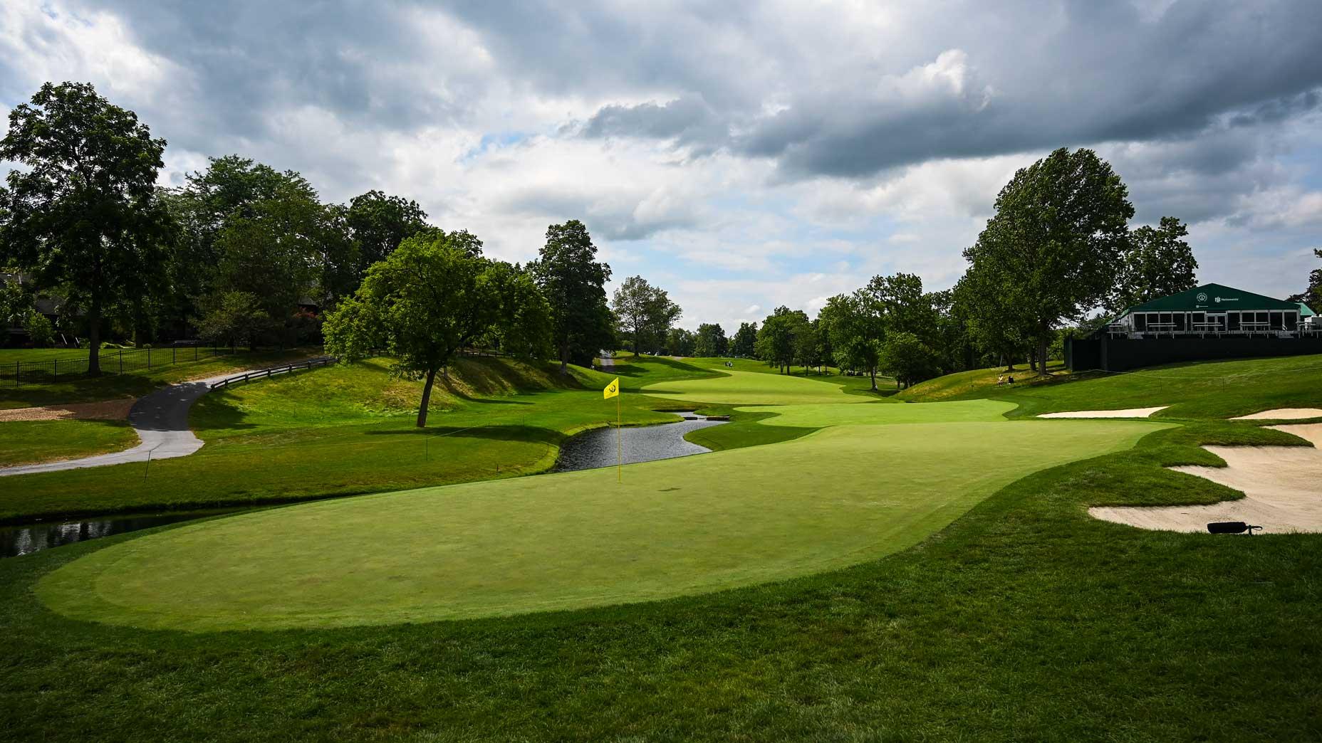 The par-4 14th hole at Muirfield Village Golf Club in 2020.