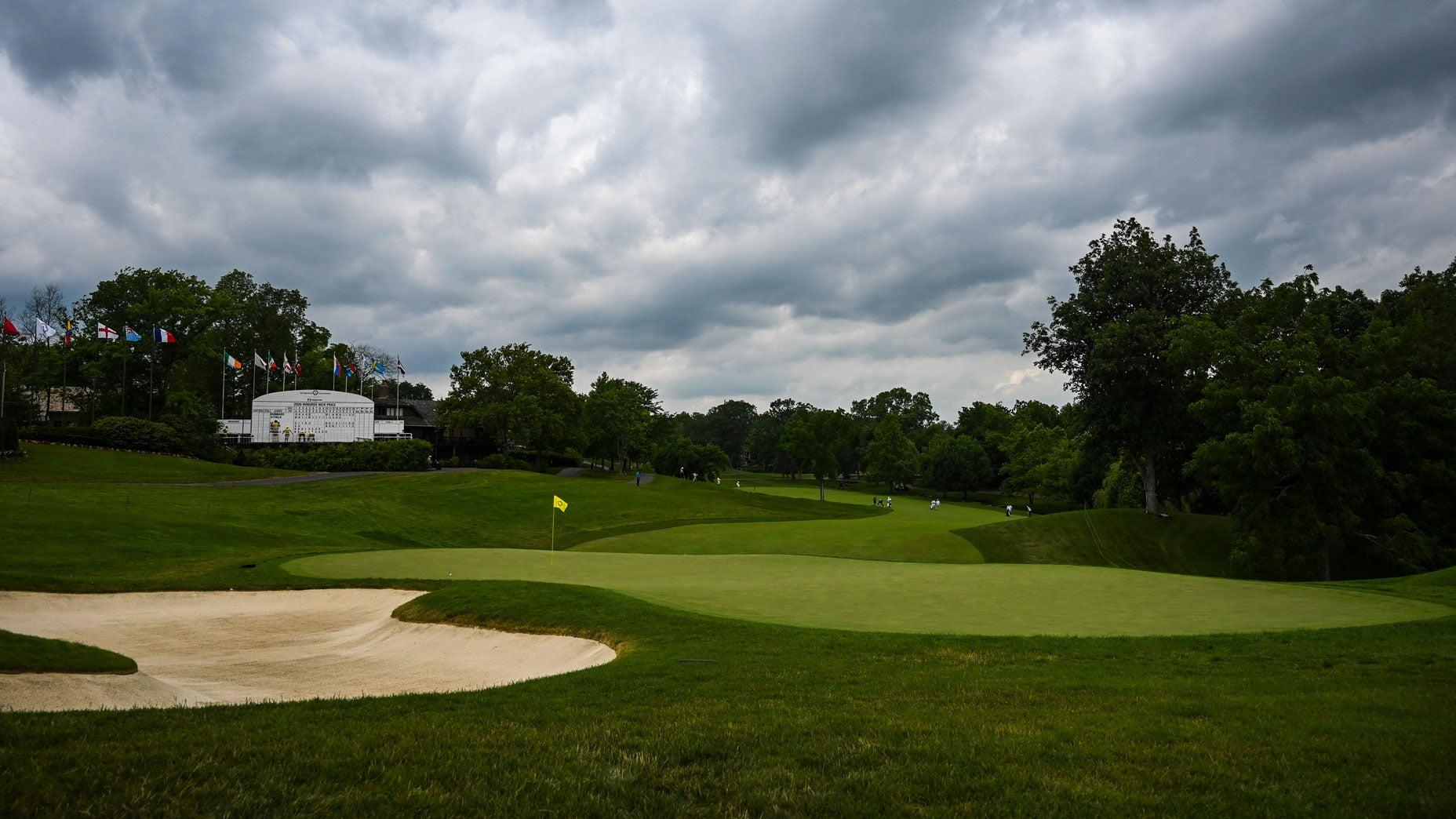 The par-4 18th hole at Muirfield Village Golf Club in 2020.