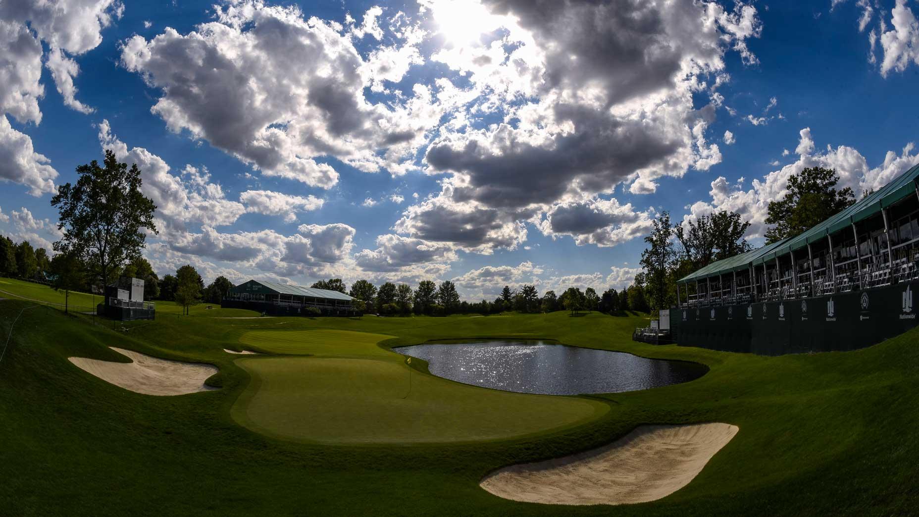 The par-3 16th hole at Muirfield Village Golf Club in 2017.