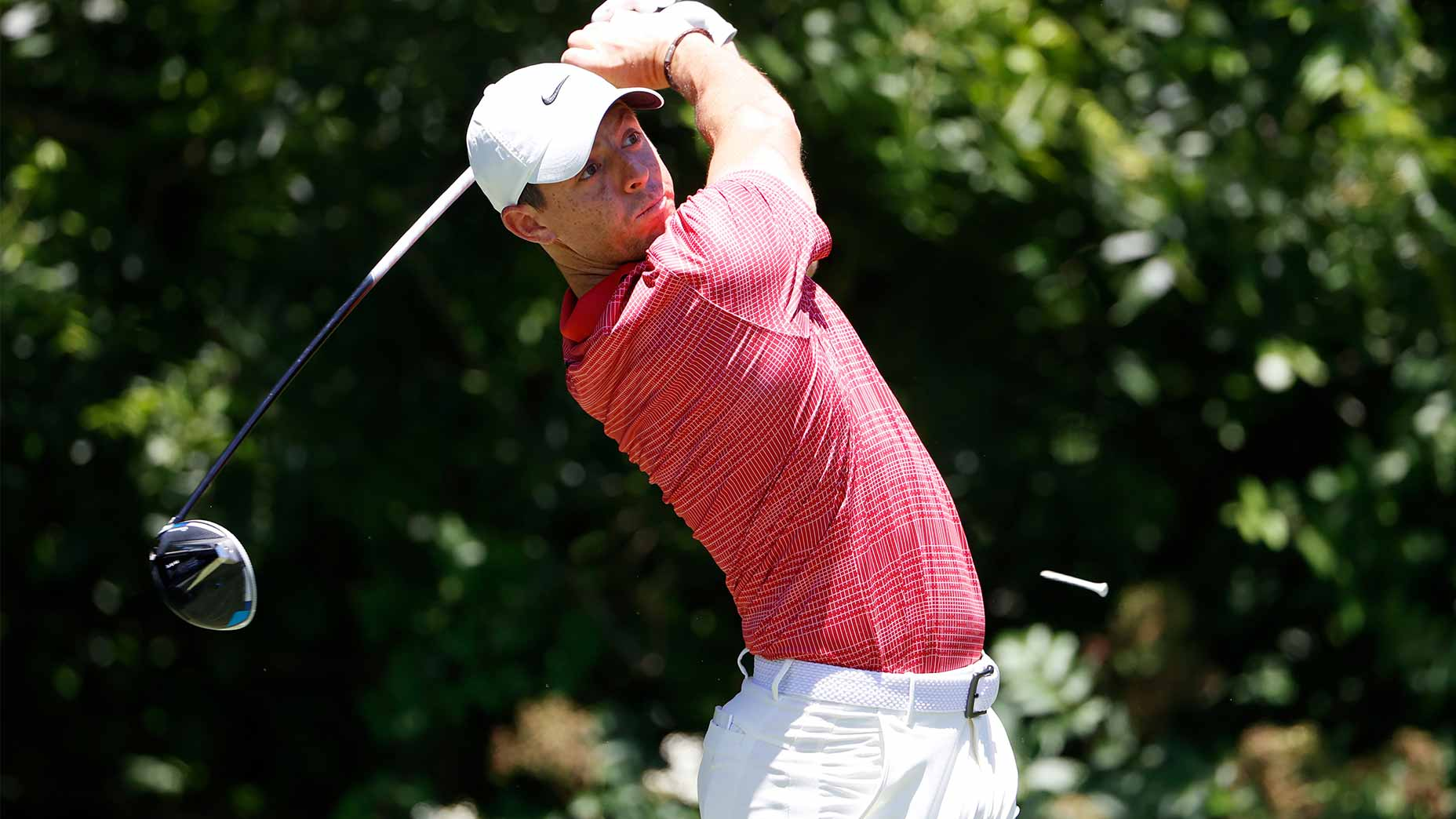 Rory McIlroy swings his driver.