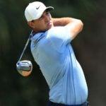 Pro golfer Brooks Koepka hits drive